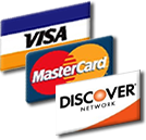 Credit cards accepted: Visa, Mastercard, Discover